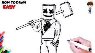 How to Draw Fortnite Marshmello Step by Step - Fortnite Skins Drawing
