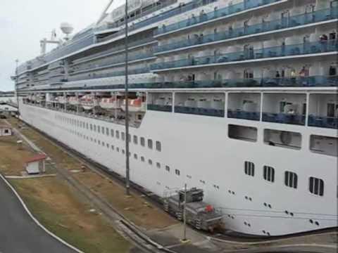 A Canadian cruise ship going through the Miraflores Locks ...