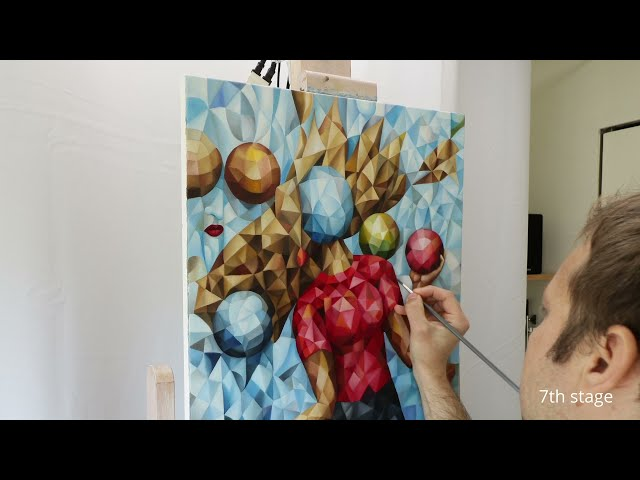 """Making the cubist painting """"Thought Bubbles"""" oil on canvas, surrealism, symbolism"""