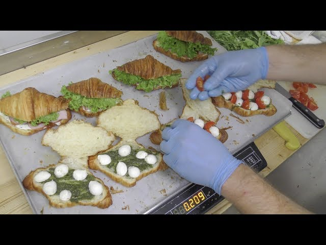 Yummy Croissant-Sandwiches. From Dough to Filling. Minsk Street Food, Belarus