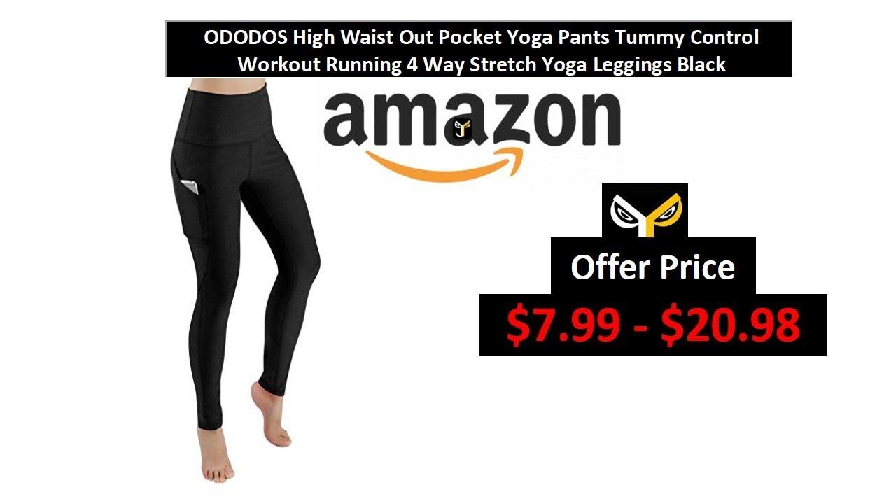 4986367f9d5a9 ODODOS High Waist Out Pocket Yoga Pants 4 Way Stretch Yoga Leggings Black