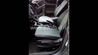видео Авточехлы из экокожи чёрно-серые