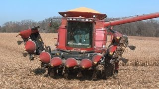 galusha farm case ih 2388 combine and a geringhoff folding corn head