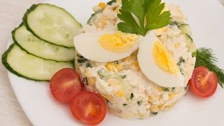 Салат с кукурузой и куриной грудкой – свежий, лёгкий и сытный