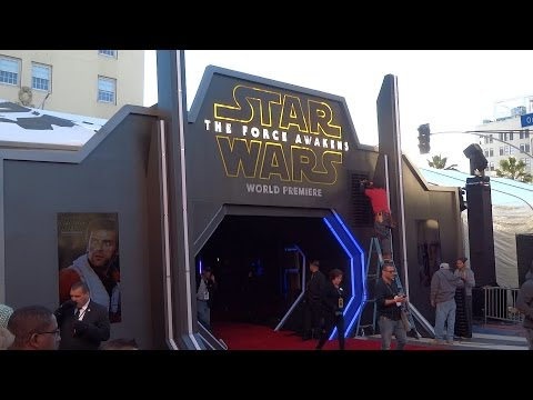"""Star Wars: The Force Awakens"" premiere setup, tents and signage on Hollywood Boulevard"