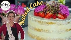 Naked Cake mit echten Blumen: Himbeercreme und Buttercreme / Verlobungstorte / Hochzeitstorte