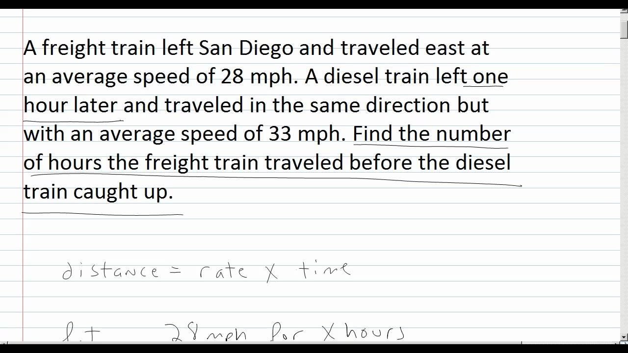 Distance Word Problems Youtube