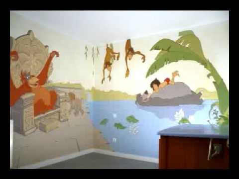 Murales infantiles de paredes de cuento youtube - Murales pintados en la pared ...