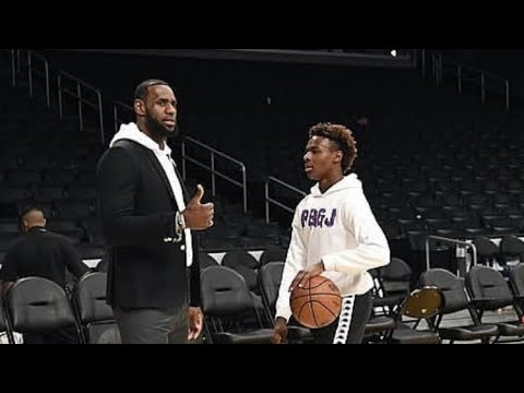 5adab0e9fa92 Lebron James and bronny james at staple center Lakers vs clippers ...