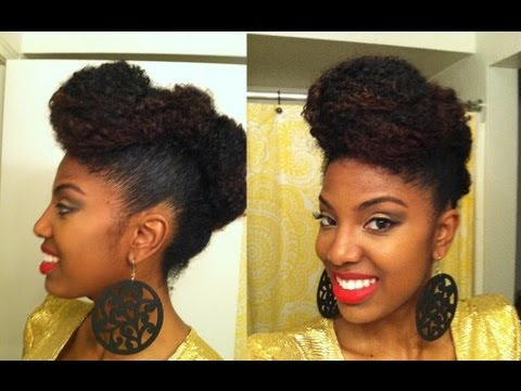 Easy Updo/Faux Hawk on Natural Hair - YouTube
