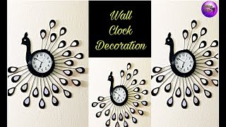 Wall clock decoration | Handmade craft | craft work | Fashion pixies | craftwork | peacock clock