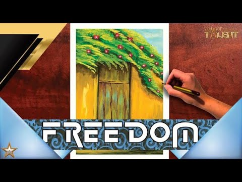 Watercolor painting for beginners beautiful flower tree and simple door | Relaxing | You Got Talent