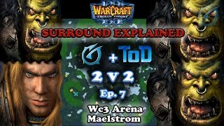 Grubby | Warcraft 3 The Frozen Throne | 2v2 with ToD - Orc&HU vs. Orc&Orc - Surround Explained