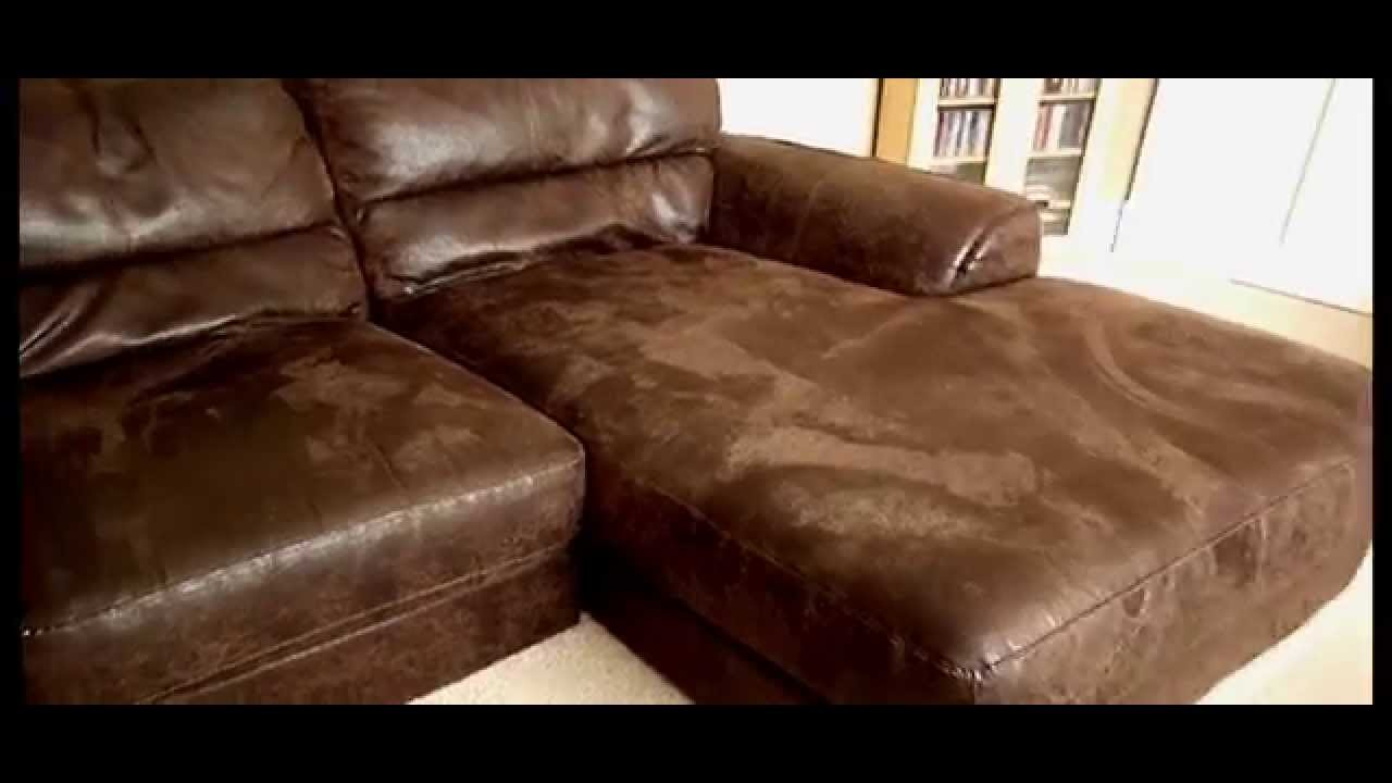 STUNNING 3 4 SEATER BROWN NUBUCK REAL LEATHER RIGHT FACING CORNER SOFA  SETTEE   YouTube