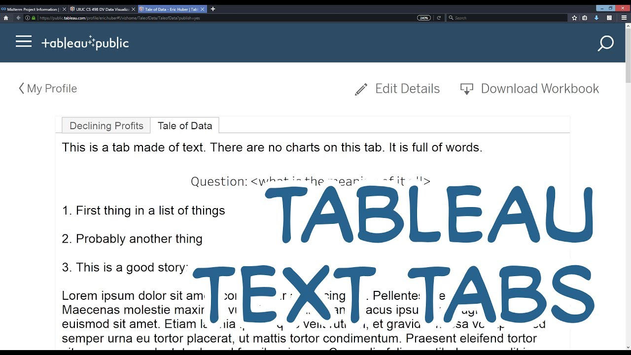 CS 498 DV - How to add a description text tab with Tableau Public