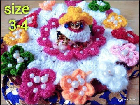 Ranbirangi flower crochet dress for 3 number laddu gopal Ji