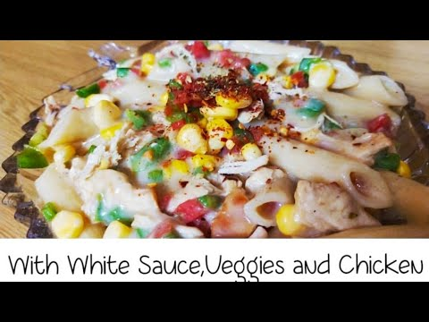 Penne Pasta With White Sauce, Veggies and Chicken