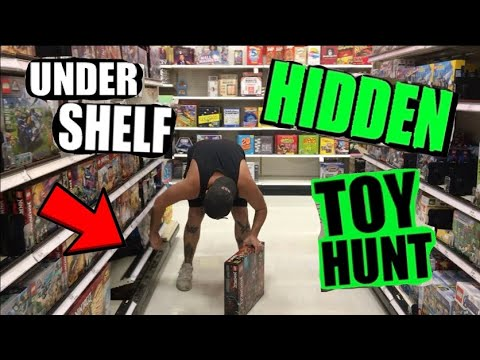 GOT KICKED OUT OF WALMART...... UNDER THE SHELF Toy Hunting HIDDEN Spots!