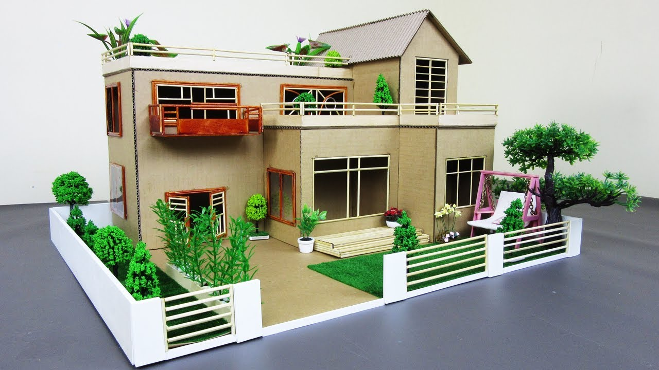 How To Make A Mansion House From Cardboard Bamboo Stick With Fairy Garden Dream House Model 02