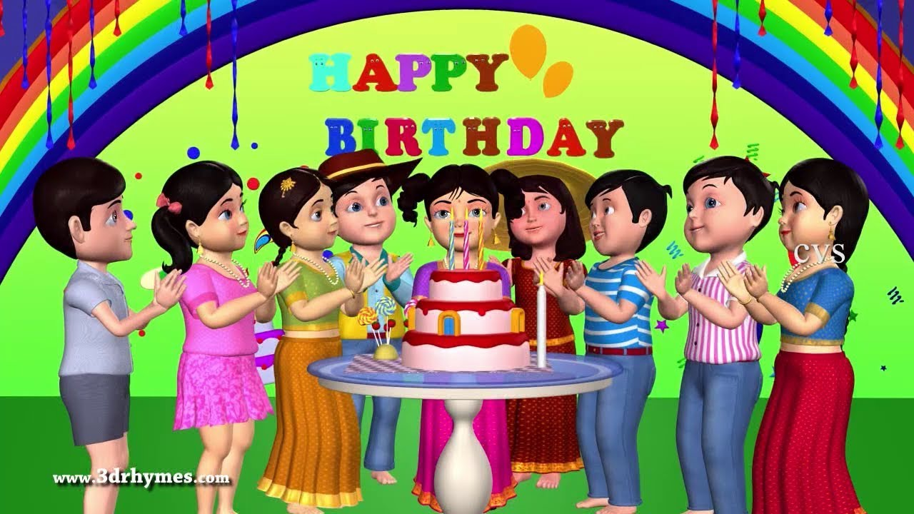 Happy Birthday Song 3d Animation English Nursery Rhymes Songs For Children Youtube