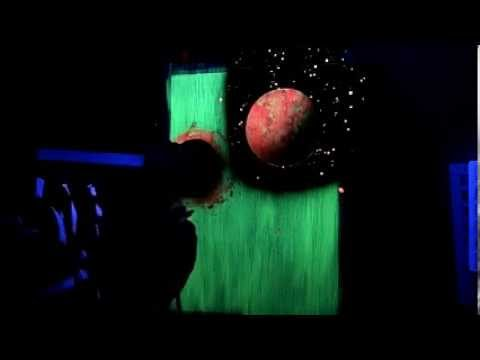 Space Painting with fluorescent water-based paints