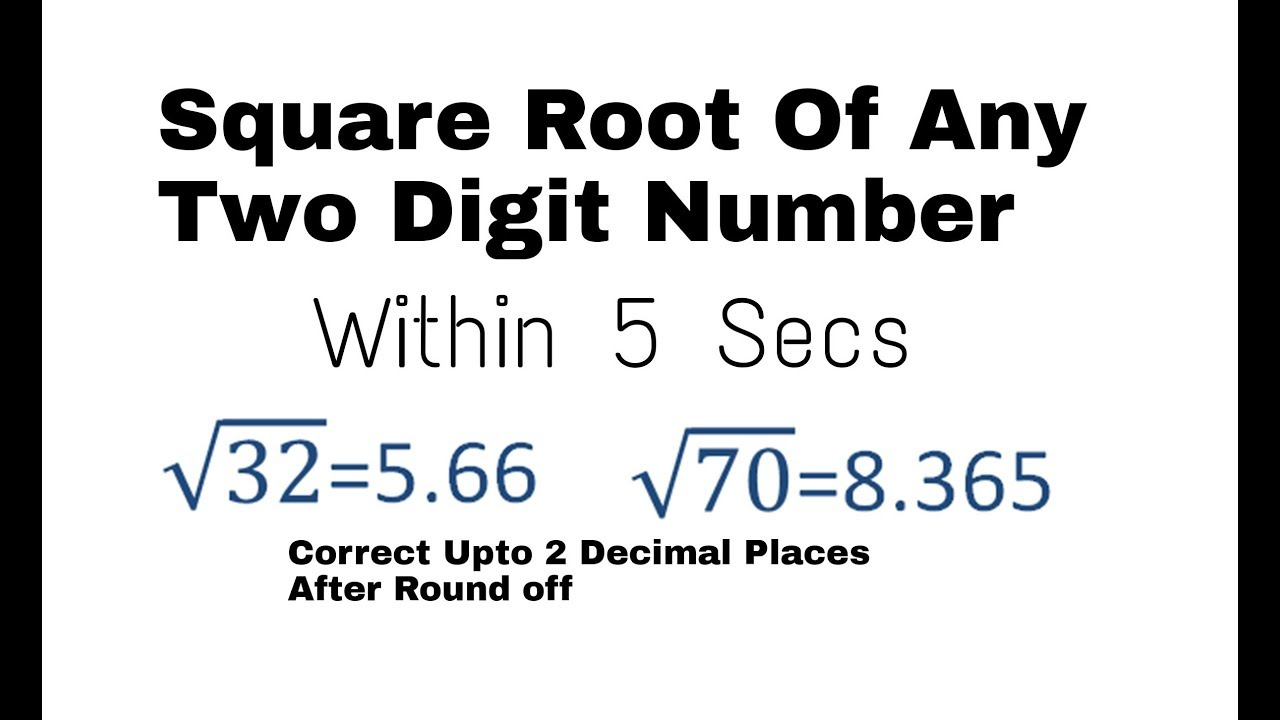square root of any two digit number within 5 secs i maths trick i shortcut  gtctutions