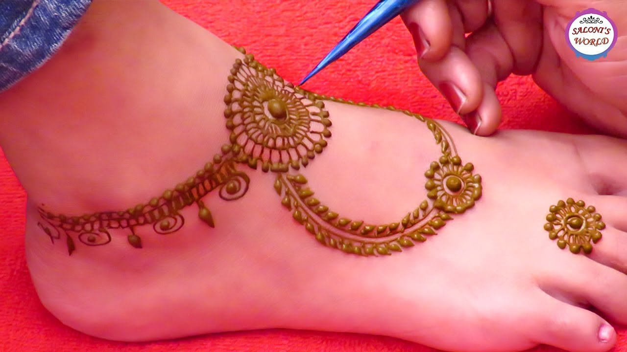 simple mehndi design images for legs