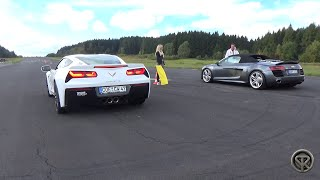 Chevrolet Corvette Stingray Z51 VS Audi R8 V10 TFSI - Drag Race!