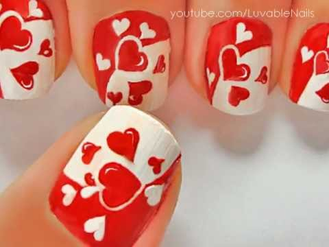 JUST HEARTS nail art by LuvableNails