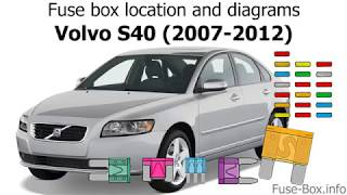 Fuse Box Location And Diagrams Volvo S40 V50 2007 2012 Youtube