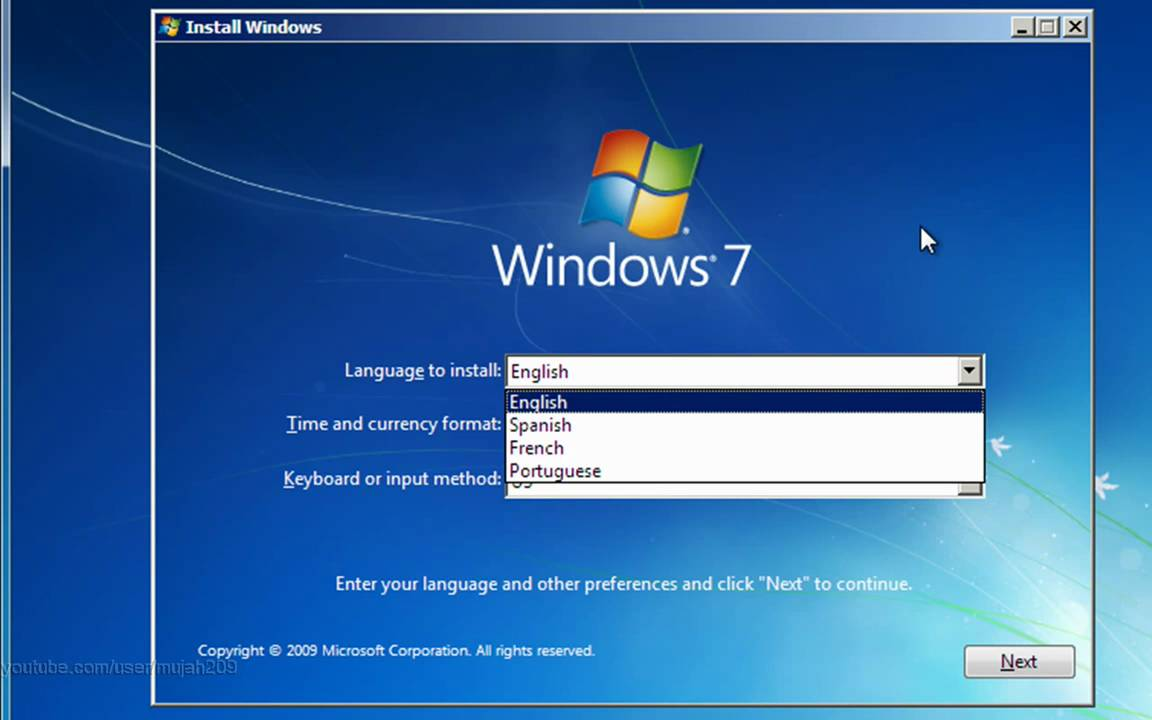 windows 7 home setup