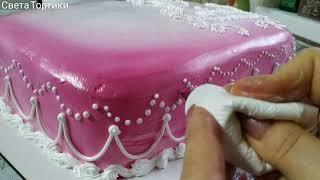 Нежный и красивый торт Украшение БЗК кремом