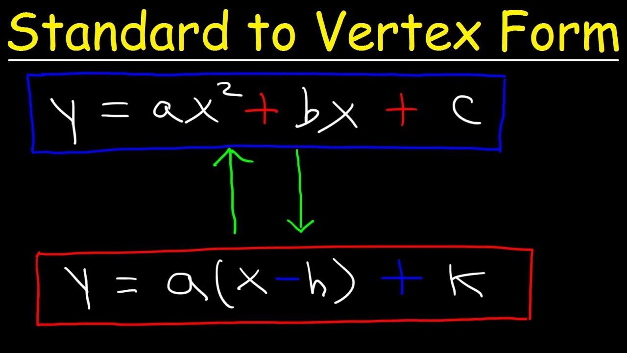 standard form vs vertex form Standard Form to Vertex Form - Quadratic Equations