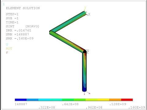 ANSYS Сопротивление материалов. Q-02 (пространственная рама).