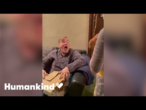Dad squeals with delight when gifted rabbit   Humankind