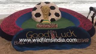 FIFA World Cup Russia, 2018 sand art on beach in India - Football fever in India