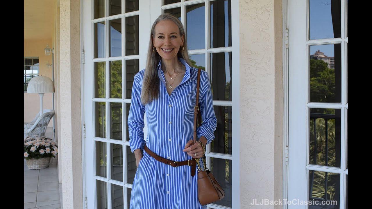 Clic Fashion Over 40 50 Ralph Lauren Shirt Dress Tory Burch Frances Satchel Talbot Flats