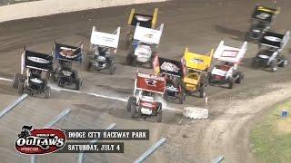 Highlights: World of Outlaws Sprint Cars Dodge City Raceway Park July 4th, 2015