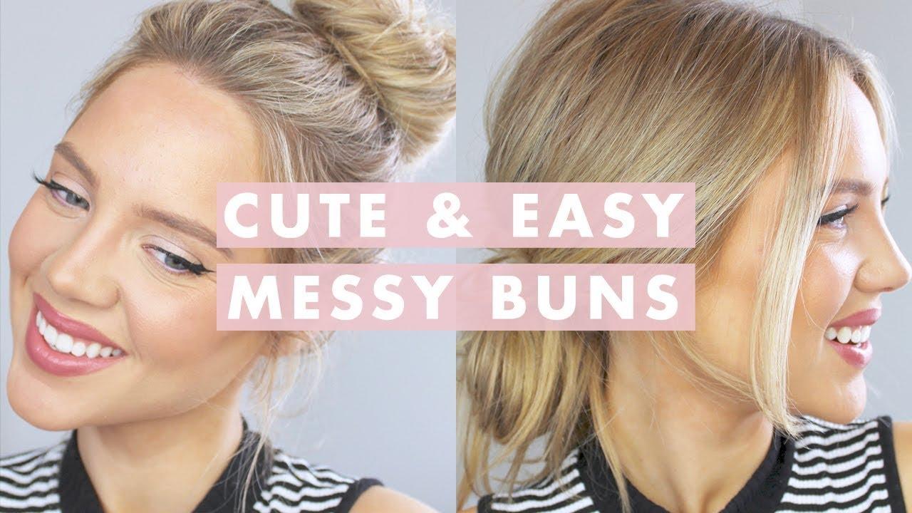 3 Cute Easy Messy Buns Luxy Hair Youtube