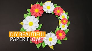 DIY Beautiful Paper Craft Flower Wall Decor idea