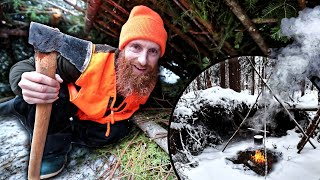 Lost WINTER Survival ChaĮlenge (NO Food, NO Water, NO Shelter!) | Knife, Saw, Axe, Wire, Rope