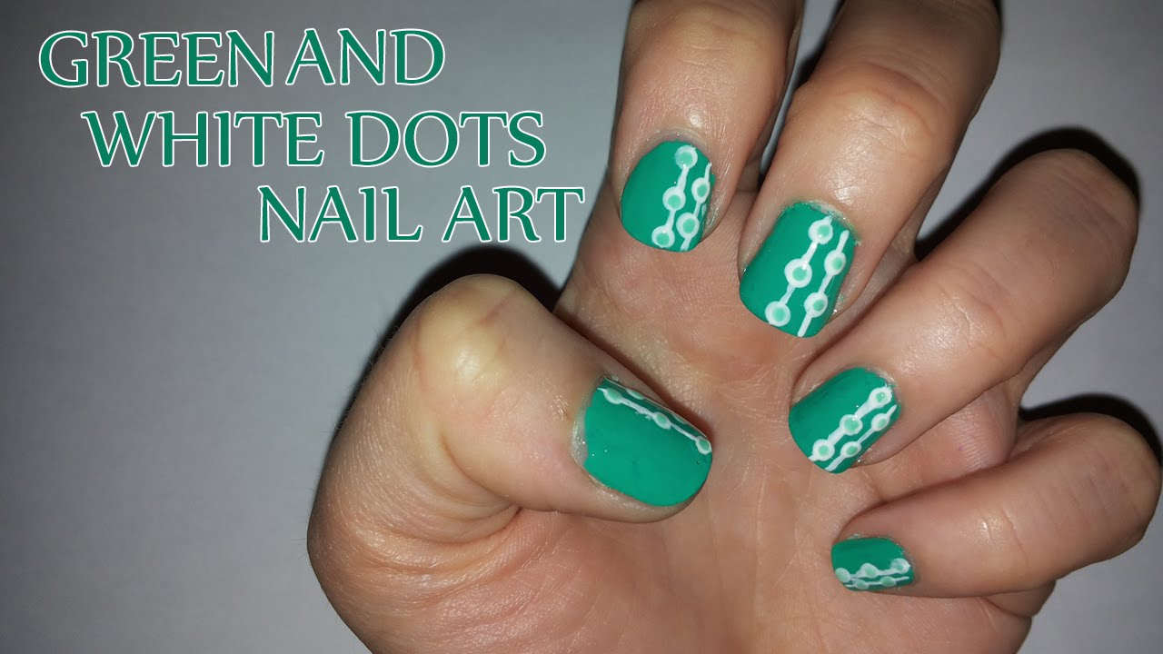 Green and white dots nail art youtube prinsesfo Image collections