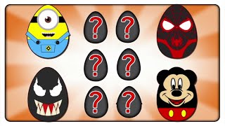 New Spiderman, Minions & Mickey Mouse Wrong Surprise Eggs | Jigsaw Puzzle Game | Kids Patrol Tv