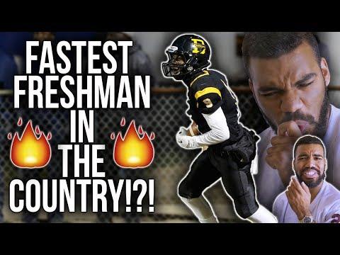 The *FASTEST* 14 Year Old High School Football Player!!!- Ahmari Huggins-Bruce Highlights [Reaction]