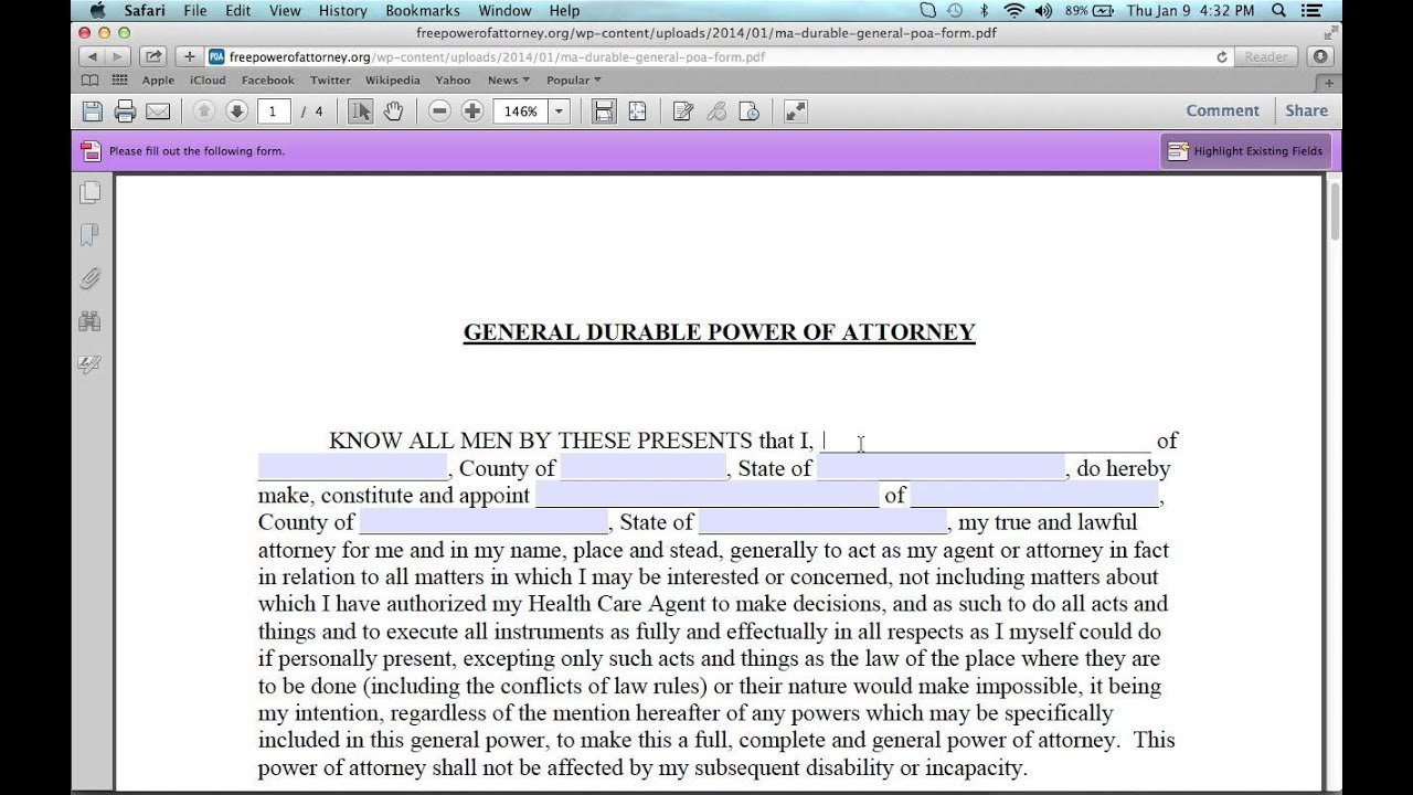 How To Write A Massachusetts Power Of Attorney Form Youtube