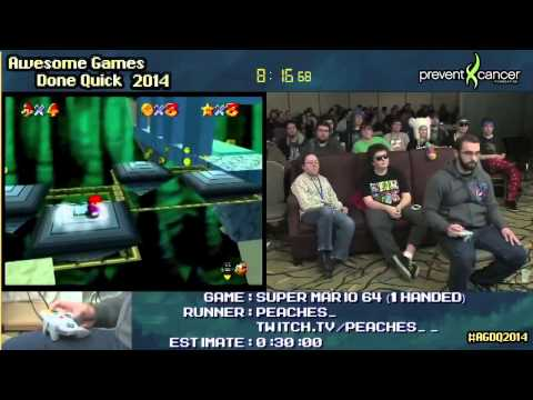 AGDQ 2014  Super Mario 64 one handed  by Peaches