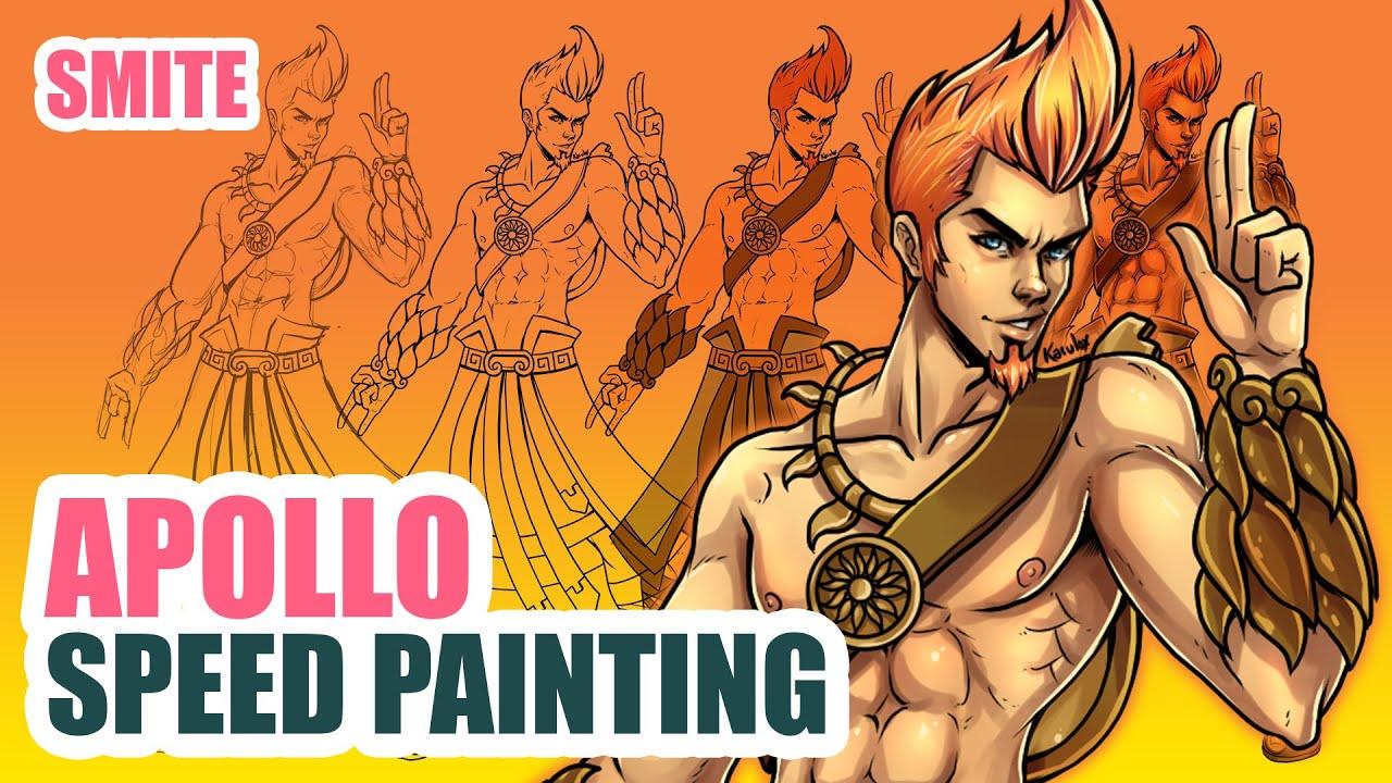 apollo smite fanart speed painting youtube