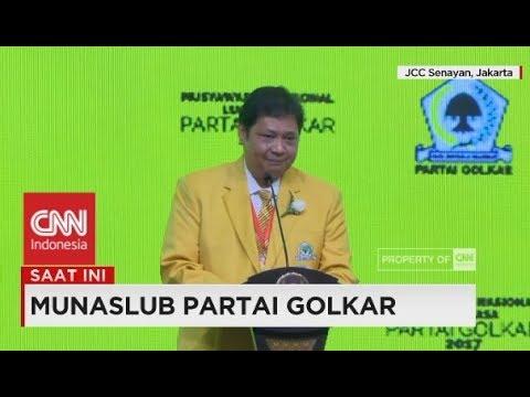 Sebut Jokowi 2 Periode, Yel-yel Airlangga Hartarto Dalam Munaslub Partai Golkar 2017