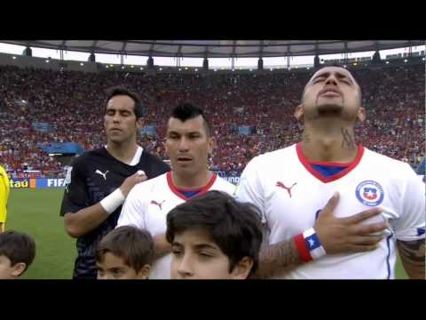 Chile National Anthem vs Spain in world cup 2014  النشيد الوطني التشيلي ضد اسبانيا