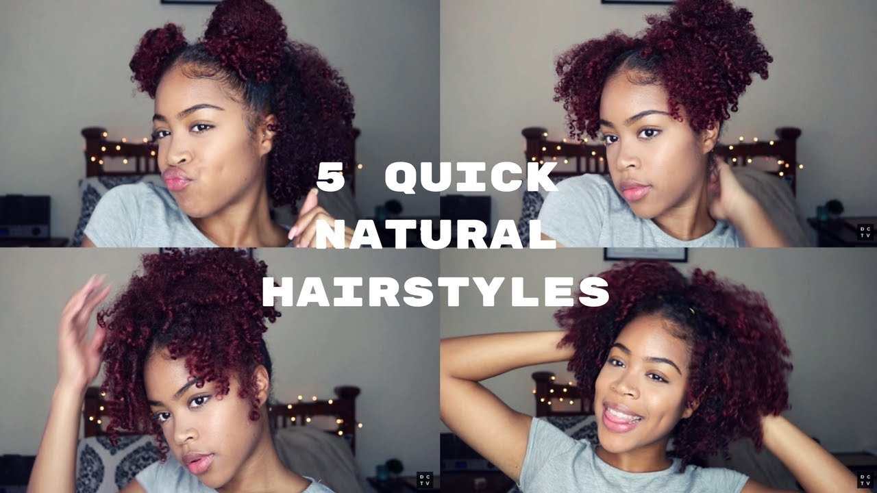 5 Cute And Quick Natural Hairstyles In Under 10 Minutes Youtube